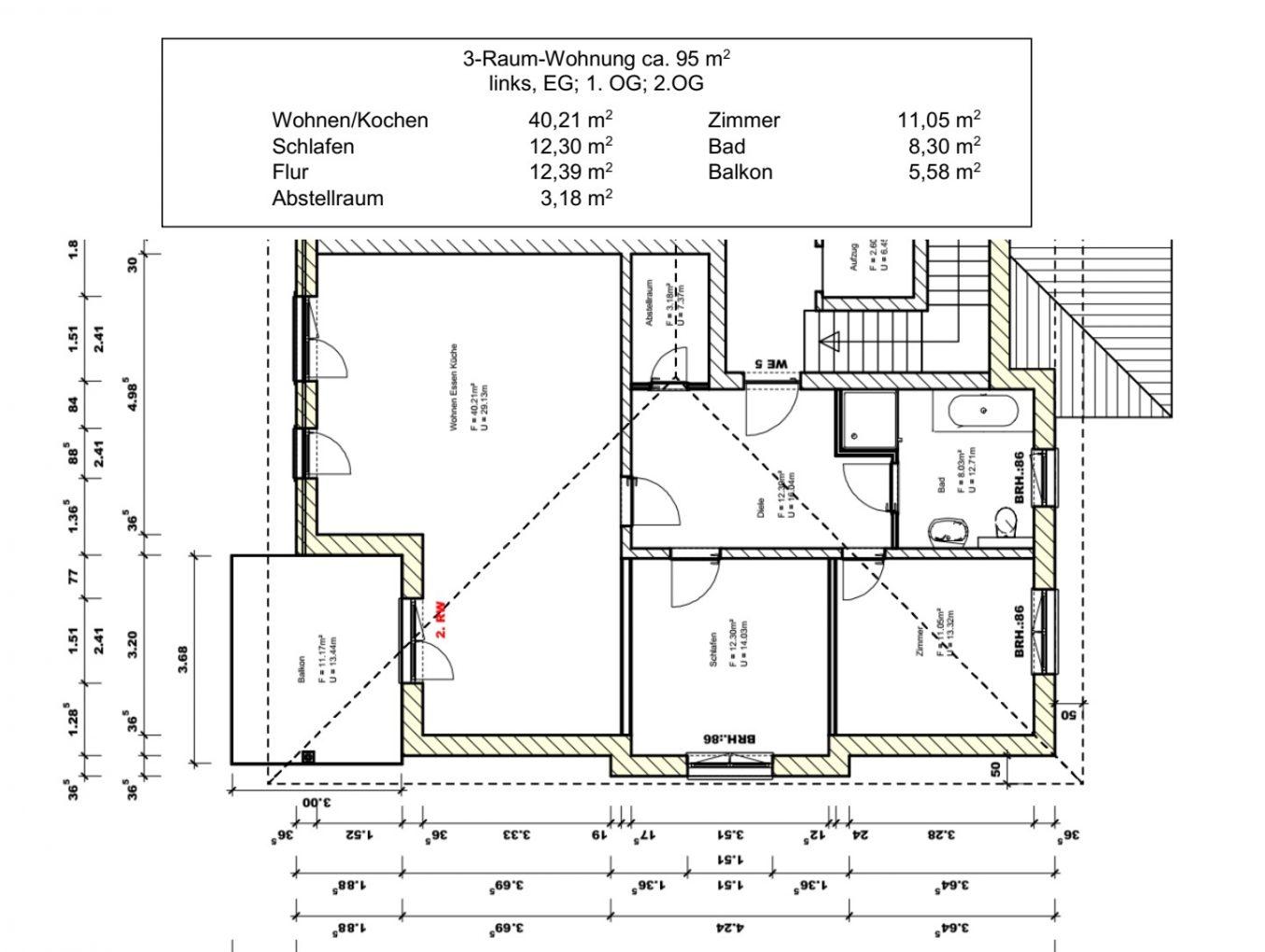 Expose 3- Raum Wohnung Eigentumswohnung in der Cottbuser Ackerstrasse – Wohnen auf 90m² im GRÜNEN